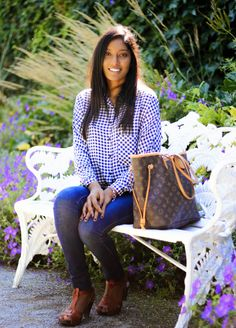 Casual in Clogs  Casual yet chic weekend wear. Check shirt and blue jeans combo. Louis Vuitton Neverfull bag.
