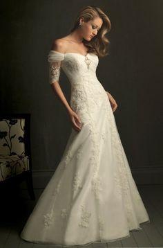 Vestidos catorceveinte.com: Vestido de novia de organza, correa fuera del hombro, silueta línea A 00200118