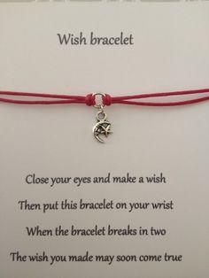 MOON & STAR Friendship Wish Bracelet .. Complete by Coastalloveuk, £2.50