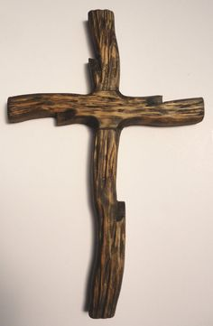 Rugged Rustic Wooden Cross Handcarved Handmade by TheFairLine, $24.00