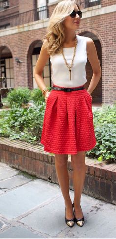White top   red skirt   gold accessories