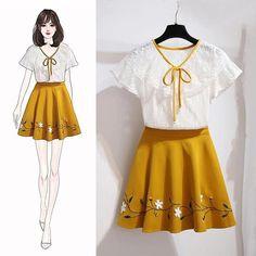 Fashion Drawing Dresses, Fashion Illustration Dresses, Korean Fashion Dress, Kpop Fashion Outfits, Girls Fashion Clothes, Mode Outfits, Casual Outfits, Kawaii Fashion, Cute Fashion