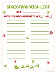 Printable Christmas Wish List  Christmas Wish List Paper
