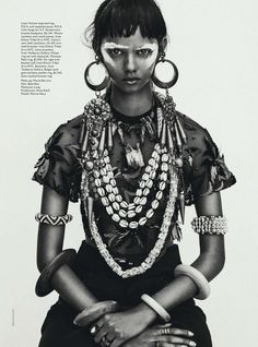 fr in love with this ethnic look - Publication: Vogue Australia April 2014 Model: Marina Nery Photographer: Sebastian Kim Fashion Editor: Katie Mossman Hair: Bok-Hee Make-up: Mariel Barrera Foto Fashion, Tribal Fashion, Fashion Moda, Fashion Shoot, Editorial Fashion, High Fashion, Editorial Hair, African Fashion, Vogue Editorial