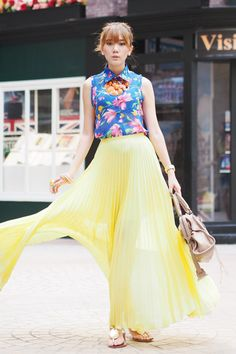 Discover this look wearing Jovonna London Skirts, Sm Accessories Necklaces - Lemon Yellow by camilleco styled for Comfortable, Everyday Yellow Maxi Skirts, Maxi Skirt Outfits, Cos Fashion, Girl Fashion, Fashion Outfits, Online Clothing Boutiques, Fashion Colours, Dream Dress, Types Of Fashion Styles