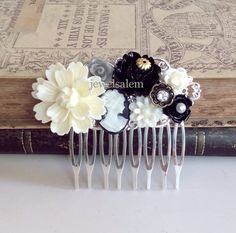 Bridal Hair Comb Silver Comb Black White Wedding Head Piece Ivory Cream Gray The Great Gatsby Vintage Style Gothic Victorian Woodland
