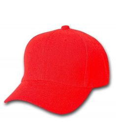 25b8e4ae Plain Baseball Cap Blank Hat Solid Color Velcro Adjustable 13 Colors (Red)  CY11EWMBMHT