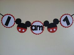 "Mickey Mouse Highchair banner ""I am 1"", Mickey pocket banner, I am 2, Mickey garland, Mickey high chair"