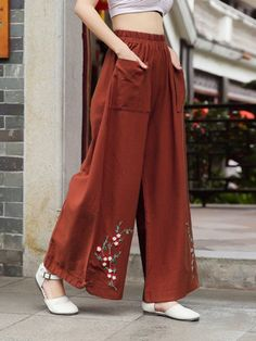 Vintage Embroidered Wide Legs Cotton Pants - Vintage Embroidered Wide Legs Cotton Pants Best Picture For outfits semiformales For Your Taste Y - Fashion Pants, Hijab Fashion, Fashion Dresses, Sleeves Designs For Dresses, Sleeve Designs, Diy Clothes, Clothes For Women, Skirt Pants, Harem Pants