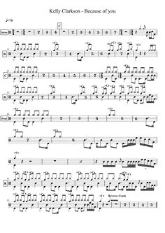Partitions gratuites pour batterie / Free drumscores Drum Sheet Music, Drums Sheet, Drums Beats, Drum Lessons, Kelly Clarkson, Scores, Drummers, Learning, Charts
