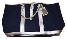 Polo Ralph Lauren Collection Womens Canvas Leather Duffle Tote Bag Navy  Silver f6745aeb5b226