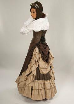 Steampunk Victorian 2 Layer Adjustable Full Length Persephone Bustle Skirt