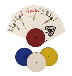 4 Piece Round Card Holders in Red, White, Yellow