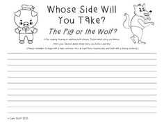 Opinion Persuasive Writing The Three Little Pigs Vs The