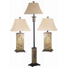 Landon Slate Finish 3-piece Lamp Set - Overstock™ Shopping - Big Discounts on Design Craft Lamp Sets