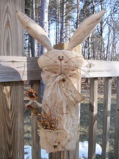 Folk Art Primitive Spring Easter SunFlower Bunny Rabbit Stump Doll Door Decoration by HarmonsCountryCrafts on Etsy