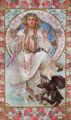 Art Nouveau Prague, Art Nouveau Mucha, Alphonse Mucha Art, Design Art Nouveau, Art Deco, Vintage Posters, Vintage Art, Illustrator, Jugendstil Design