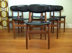RETRO 1970S SET OF 6 TEAK FRAMED DINING CHAIRS WITH BLACK VINYL  Unwatch