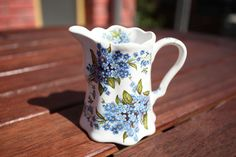Creamer - Ceramic decorated creamer perfect for your breakfast table. This handmade creamer is just the right size for milk or cream for your coffee. Forget Me Not, Sugar Bowl, Bowl Set, Milk, Ceramics, Cream, Coffee, Handmade, Breakfast