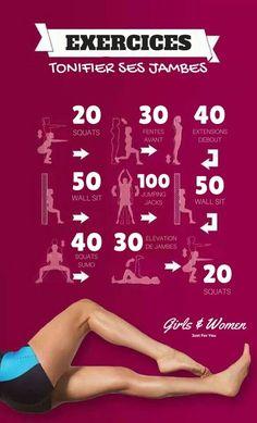 Sachez tout d'abord qu'il n'y a pas que les squats pour tonifier vos jambes ! Vos jambes sont constituées de nombreux groupes musculaires, il est donc important d'inclure des exercices qui les ciblent tous.