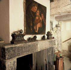 in LOVE with this. except the painting...why wasn't i born in a old European farmhouse..??