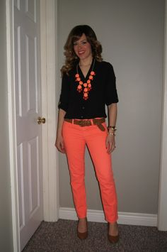 Coral Jeans & SITC Bubble Necklace ~   Spring Brights!  http://sextoninthecity.ca/sexton-in-the-city-what-i-wore-22/