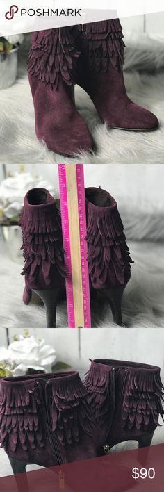 "Isola Layton Fringe Heel Bootie Isola Layton Fringe Heel Bootie Size 7 Eggplant Color Never Been Worn No Box No Trades Heel 3.5"" Isola Shoes Ankle Boots & Booties"