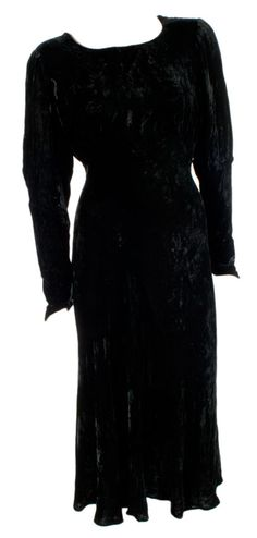Bias Cut 1930s Velvet Evening Dress at ballyhoovintage.com