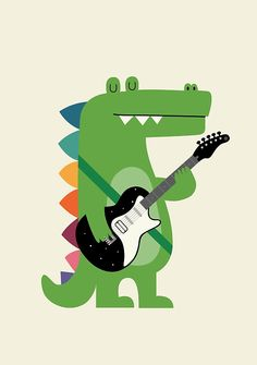Croco Rock Framed Mini Art Print by Andy Westface - White - x Canvas Art, Canvas Prints, Rock Posters, Poster On, Cute Illustration, Crocodile Illustration, State Art, Rock Art, Wrapped Canvas
