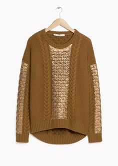 & Other Stories image 1 of Cable Knit Sweater in Dark Yellow