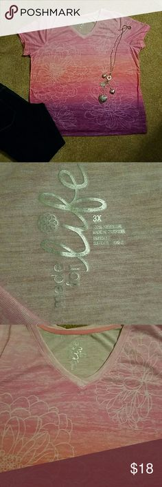 3X Ombre top stretchy, soft and wrinkle free 100 % polyester.  Nice and soft. From JCPenney.   Good used condition. Measures approximately 26 inches from armpit to armpit. Made for Life Tops Blouses