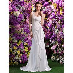 Trumpet/Mermaid One Shoulder Satin Chiffon Court Train Wedding Dress(2310078) – USD $ 299.99