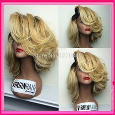 2014 fashion ombre wig ombre lace front wig/full lace wigs two tone #1bT#27 color virgin brazilian for black women wavy babyhair