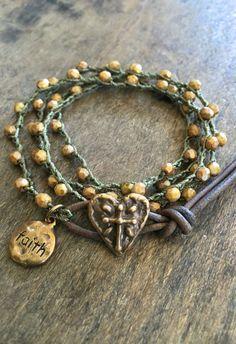 Bronze Heart Cross Crochet Bracelet, Knotted Beaded Crocheted Jewelry by Two Silver Sisters twosilversisters