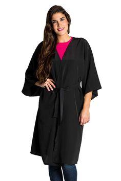Chaqueta tipo kimono recto de color negro 0507da9977d
