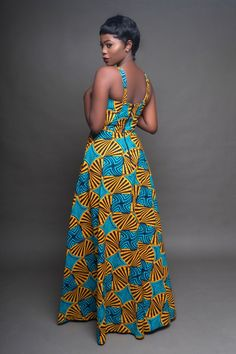 Tile African This African print dress is effortlessly beautiful. It was made to make you feel like a queen. You'd love to pair it with heels and be ready to turn heads! - Back zipper - About 60 inches long - 2 side pockets