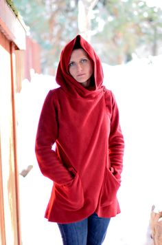 Red Hooded AntiPill Fleece Jacket for Women by RubyRedsCreations, $43.00