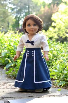 Doll Dress Top Skirt Anne of Green Gables Nautical for American Girl 18 inch doll Sewing Doll Clothes, Girl Doll Clothes, Doll Clothes Patterns, Clothing Patterns, Girl Dolls, Ag Dolls, Barbie Clothes, Dress Patterns, My American Girl Doll