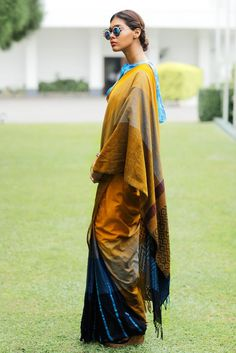 The saree is inspired by the bright hazel coloured eye and the shadows that reflect upon the eye. This cotton saree is soft and it drapes well on you. Traditional Sarees, Traditional Outfits, Indian Attire, Indian Wear, Indian Dresses, Indian Outfits, Formal Saree, Modern Saree, Look Short