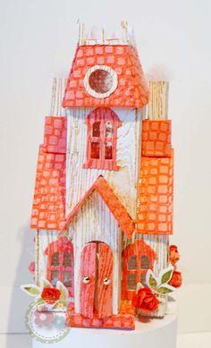 Rose Village Manor House using Tim Holtz Village Dies by Sizzix