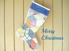 Quilted Christmas Stocking Patterns | Christmas Stocking, Vintage Quilt, 1930s Quilt, Tumbling Block Pattern ...