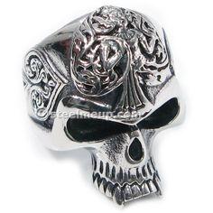 Stainless Steel Carved Spade Statue Skull Men Biker Ring