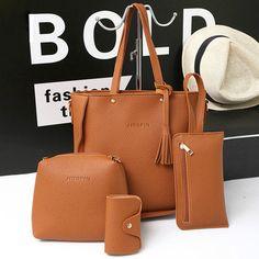 8e8934135a 4 PCS PU Leather High-end Handbags For Women Shoulder Bags High End Handbags