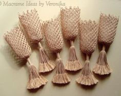 """Macrame Mesh for Billiard Pockets """"ELEGANCE"""", Set of 6 Pieces, Made to Order"""