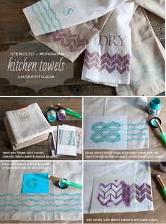 DIY monogrammed and stenciled kitchen towels Monogram Stencil, Diy Monogram, Textiles, Craft Gifts, Diy Gifts, Kitchen Towels, Diy Kitchen, Towel Crafts, Weaving Projects