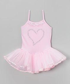 This Pink Rhinestone Heart Skirted Leotard - Girls is perfect! #zulilyfinds