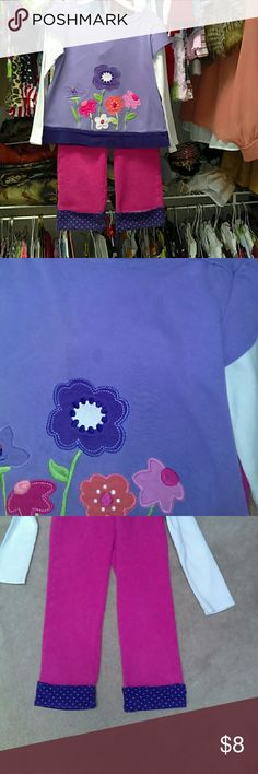 Gymboree set size 5t Top is lavender with multi colored flowers..2 spots on top and pictured...matching sweat pants ..pink  with purple cuffs..price is reflected.. Gymboree Matching Sets