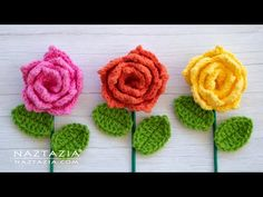 CROCHET ROSE FLOWER and LEAF - Roses, Flowers, and Leaves for a Decoration, Corsage and Bouquet - YouTube Thread Crochet, Crochet Yarn, Free Crochet, Diy Flowers, Crochet Flowers, Learn To Crochet, Lace Sleeves, Corsage, Crochet Projects