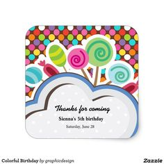 Sold. #Colorful #Birthday Square #Sticker Available in different products. Check more at www.zazzle.com/graphicdesign