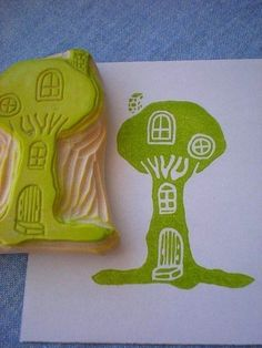 treehouse stamp hand carved rubber stamp handmade by StudioMo Foam Stamps, Ink Stamps, Homemade Stamps, Make Your Own Stamp, Eraser Stamp, Stamp Carving, Stamp Printing, Tampons, Scrapbook